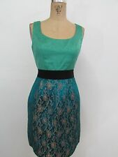 PHOEBE COUTURE Teal/Multi-Color Print Sleeveless Sheath Young Adult Dress-Size 2