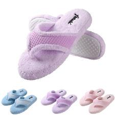 Aerusi Women Plush Thong Spa Slippers Anti-Slip Memory Foam Indoor House Shoes