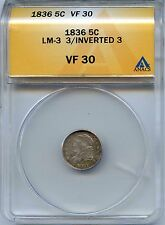 1836 H10C Capped Bust 1/2 Dime, 3 Over Inverted 3. ANACS Graded VF 30. Lot #2168