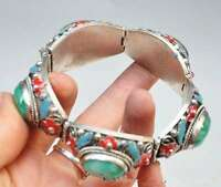 China's Tibet dynasty palace cloisonne silver inlaid jade bracelet, too c02