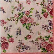 ROSES FLORAL PINK 2 single LUNCH SIZE paper napkins for decoupage 3-ply