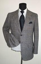 Oxxford Clothes two button center vent blue beige plaid sport coat jacket ~ 38 R