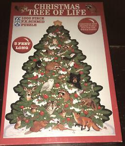 Christmas Tree Of Life Birds Raccoons 1000 Piece Jigsaw Puzzle FX Schmid Shaped