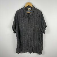 VINTAGE A2Z Australia Mens Button Up Shirt 4XL Black Floral Short Sleeve Rayon