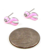 Silver Toned Rhodium Plated Pink Ribbon Breast Cancer Awareness Stud Earrings