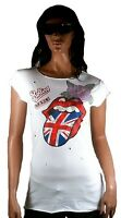 ViP ELEGANTLY WAISTED by AMPLIFIED ROLLING STONES UK Lila Strass Blume T-Shirt L
