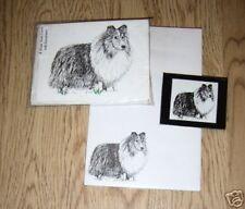Shetland Sheepdog Sheltie 3 Piece Set-Notepad, 6 Blank Notecards and Magnet