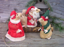 """Easy 5"""" tall Christmas Santa, Mrs Claus & Elf Mice Mouse Sewing Pattern Holiday"""