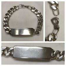 Wide Massive Bracelet Curb Chain 900 Silver Armlet Bangle NAMEPLATE