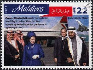 QEII & King Khalid at Riyadh Airport CONCORDE Aircraft Stamp (2016 Maldives)