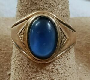 Vtg 1950s Clark & Coombs Gold filled Deco styled Ring Blue Stone Size 10.75 ~5g~