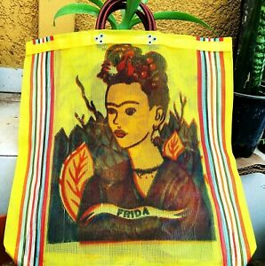 Mexico Frida Kahlo Mesh Market Bag Large Eco Purse Reusable Assorted Colors Vtg