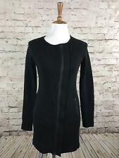 Eileen Fisher Leather Trim Silk & Cotton Jacket Black Zip Up S4QC-1 Size PP