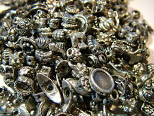 """6-10mm assorted """"pewter"""" effect spacer beads, charms and bead caps- 50gm pack"""