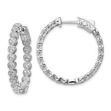 925 Sterling Silver Cubic Zirconia Cz In Out Heart Round Hoop Earrings Ear
