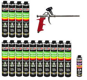 Pistolenschaum 14 x 750 ml + 1  Metall Schaumpistole + 1 Reiniger Montageschaum