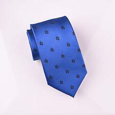 "Full Black Lucky Four Leaf Clover Blue Standard Regular Woven Tie 3"" Necktie B2B"