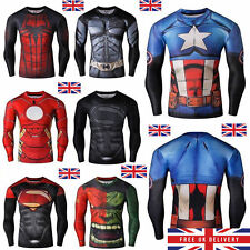 Mens Marvel Compression Armour Base Layer Gym Top Superhero Cycling T-shirt fit