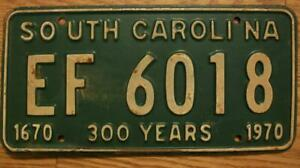 SINGLE SOUTH CAROLINA LICENSE PLATE - 1970 - EF 6018 -  300 YEARS - 1670-1970