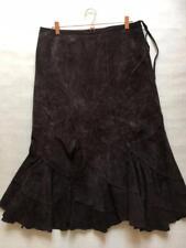 Monsoon Beautiful Chocolate Brown Suede Bias Cut Midi Calf Length Skirt 14