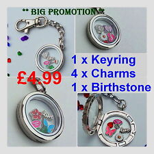 Memory Locket Plain Keyring Floating Charms Living Pendant Chain 30mm