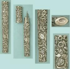 Antique English Sterling Silver Floral Needle Case by Joseph Wilmore* Circa 1830