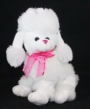 Plush Stuffed White Poodle Puppy Dog heart and pink Bow Soft Cuddle Kelly Toy