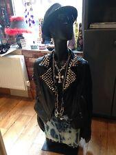 Women's Size 10 Real Leather Fringed Biker Jacket Hand Studded
