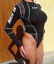 Black Spandex Lycra Thong Bodysuit Playsuit Turtleneck Long Sleeved Size 8 S