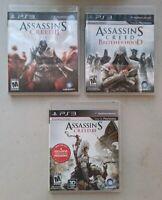 Assassin's Creed II 2 + Brotherhood + III 3 Playstation 3 PS3 - Lot Of 3 Games