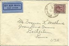 Jamaica SG#110(single frank) OCHO RIOS FE/12/37 AIRMAIL to USA