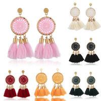 Fashion Boho Women Earrings Jewelry Long Tassel Fringe Boho Stud Drop Dangle