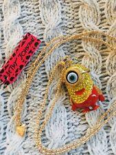 US SELLER Betsey Johnson Minion Yellow Rhinestone Necklace