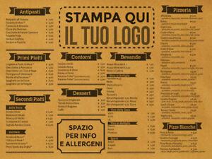 1000 Tovagliette sottopiatto in carta paglia con il tuo menu stampato