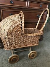 Baby Carriage Buggy Antique Doll Wicker Stroller Pram