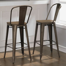 Rustic Bar Stool Set Of 2 Industrial Vintage Bronze Wood Seat Modern Chairs
