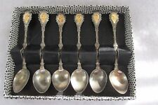 Set Of Six Silver Engraved Salt Spoons Signed Italy - New In The Original Box