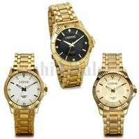 New Men's Gold Tone Stainless Steel Rhinestones Dial Quartz Luxury  Wrist Watch