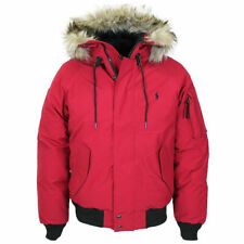 Polo Ralph Lauren Mens Red Down Faux Fur Trim Hooded Puffer Bomber Jacket NWT