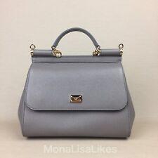 New DOLCE & GABBANA Miss Sicily Medium Grey Bag Handbag Purse Tote