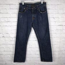 Nudie Men's Easy Emil Raw Dry Navy Organic Denim Sz 33 Button Fly Blue Jeans