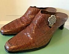 """Women's Brighton """" Twain"""" Woven Brown Leather Heeled Open Back Shoes Sz 7.5 M"""