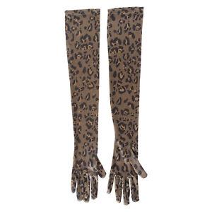 New 1 Pair Unisex Stretchy Satin Gloves Elbow Length Sleeves Mittens Zebra Print