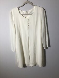 Vintage Windsmoor Womens White Shift Dress Size 12 Long Sleeve Great Condition