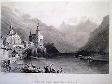 MONTE ROSA,VISP,SVIZZERA,MONTAGNA,ALPI,PAESAGGIO,ENGRAVING,1835,INCISIONE ANTICA