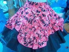 Square Dance Magenta Top-Black Skirt, Flamingo Over-Skirt, Belt & Pettis Sz. L