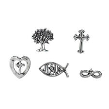 Lux Accessories Silver Tone Plated Christian Themed Pins and Brooches set of 5