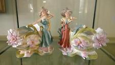 Pair of Enchanting Art Nouveau Sitzendorf Figural Stylised Cache Pots C 1884+