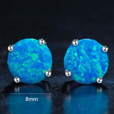 Amazing Holiday Gift 6 mm Round Cut Fire Blue Opal Platinum Plated Stud Earrings