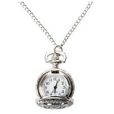 Quartz Pendant Pocket Watch Chain Alloy Silver Arabic Numeral Owl M8K5 J9L3